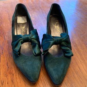 Vintage Petra Firenze Green Suede Heels